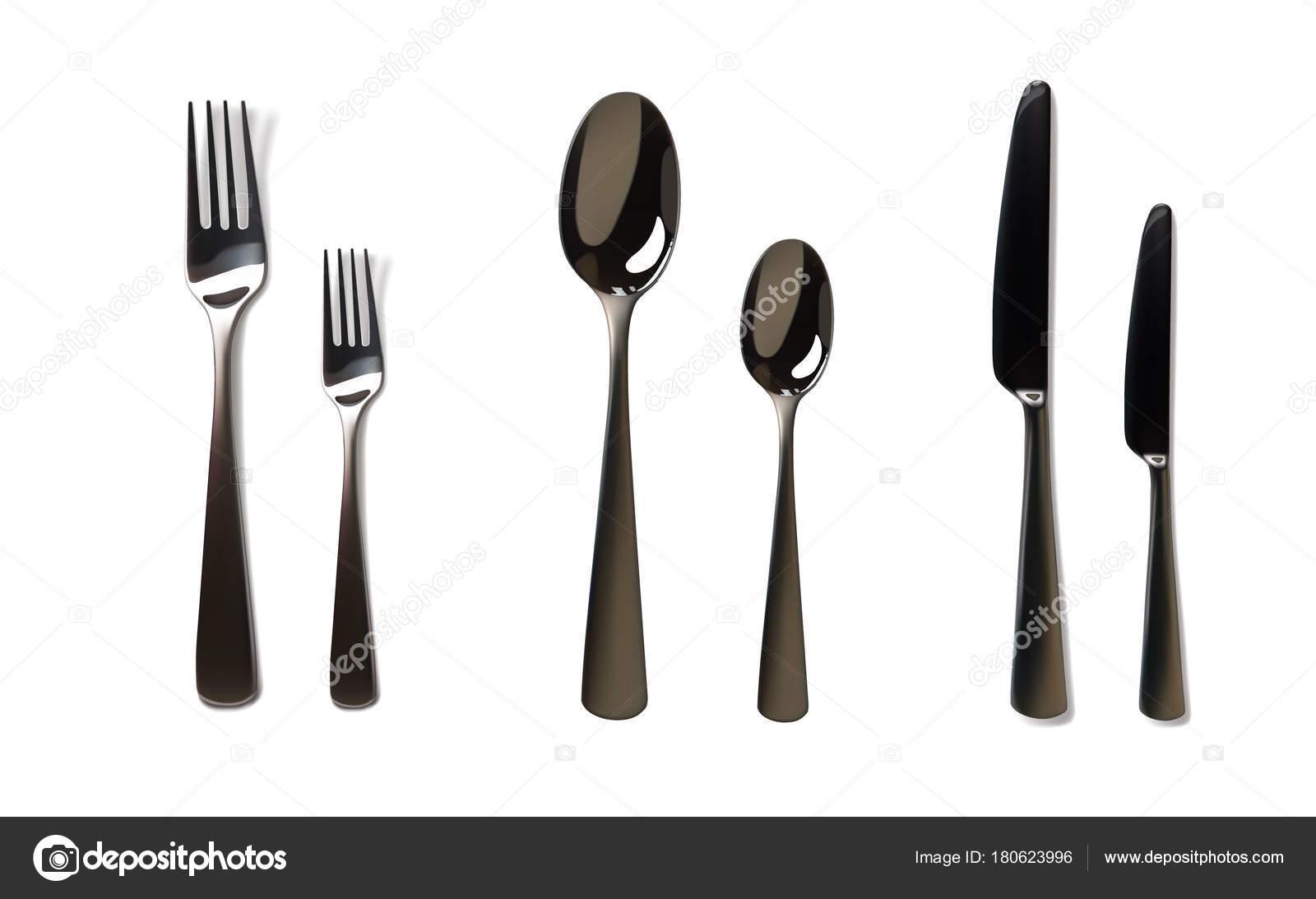 Maqueta realista de tenedor y cuchillo acero inoxidable for Elemento de cocina gris