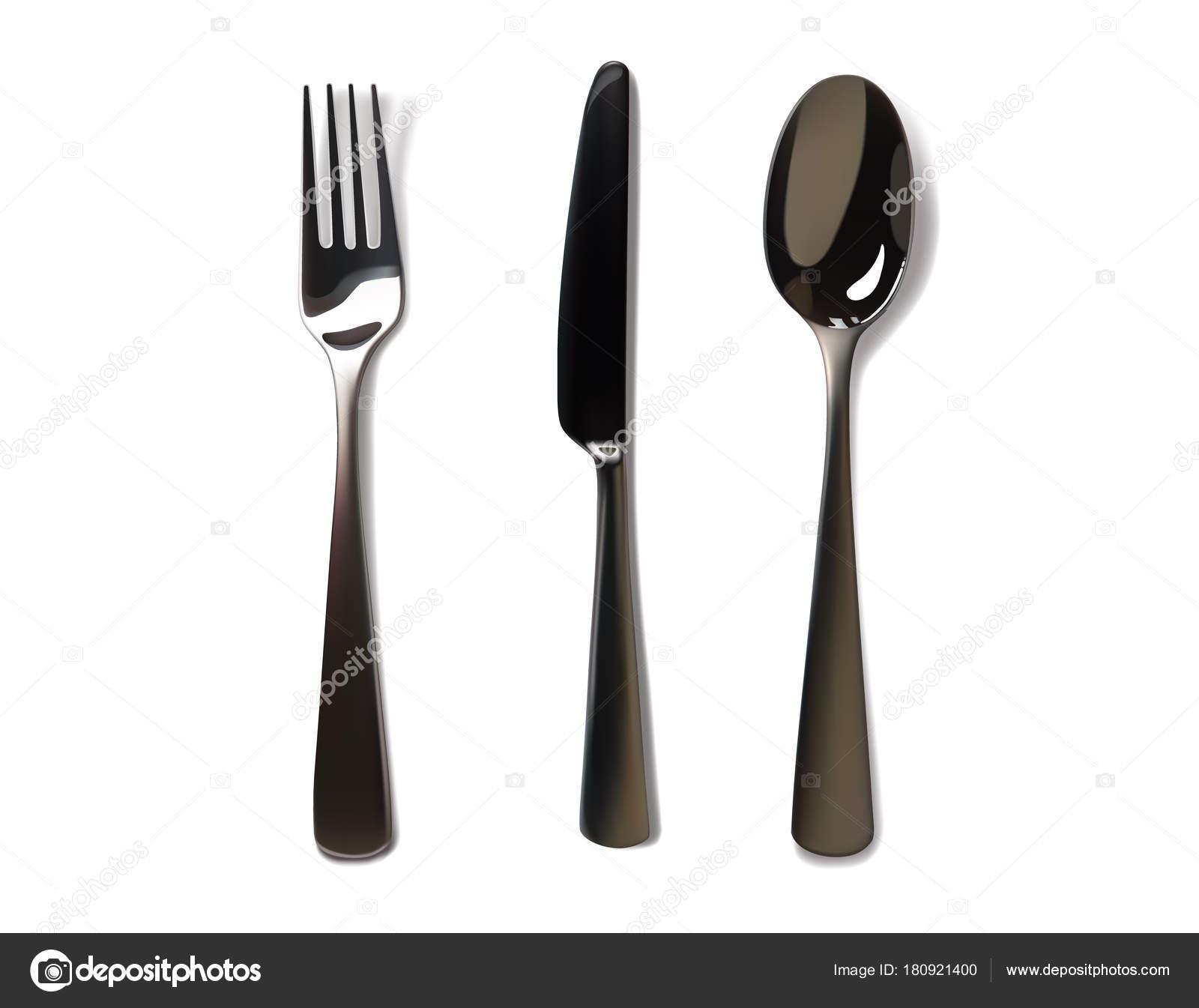 Maqueta realista de tenedor y cuchillo. Acero inoxidable, plata ...