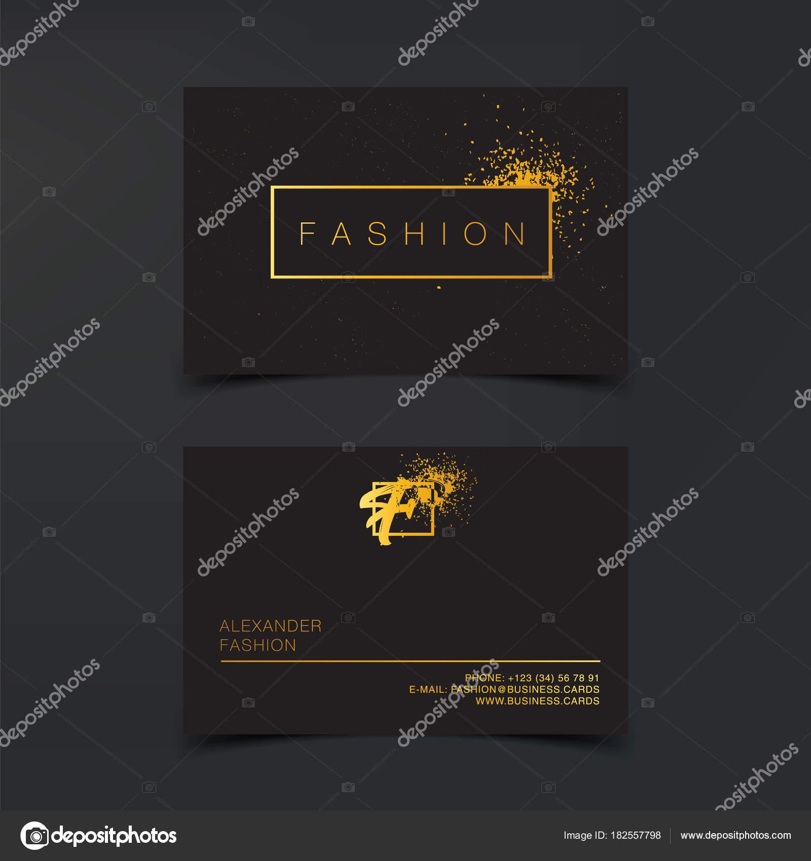 Cartes De Visite Luxe Mode Vecteur Modele Banniere Et Couvrir Avec La Texture Poussiere Dor Les Details Feuille Sur Fond Noir