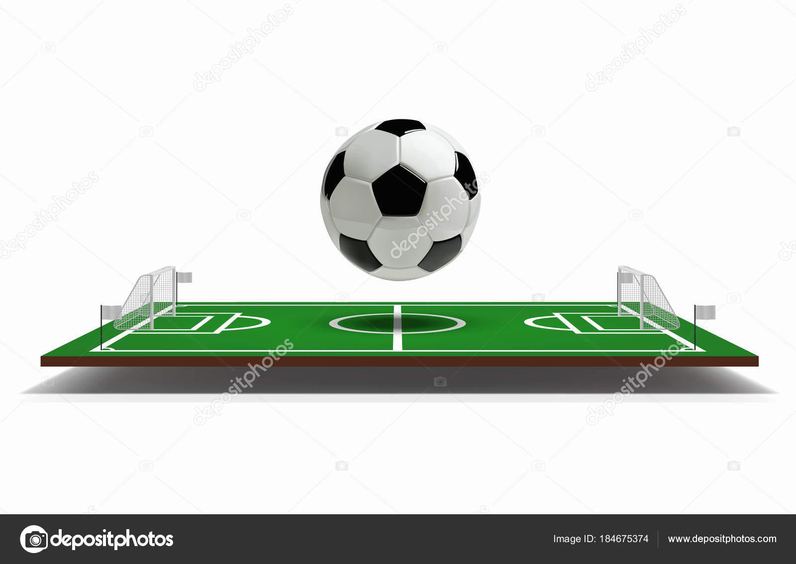 Fußball oder Fußballplatz Vektor 3d mit Fußball-Ball. Grüne ...
