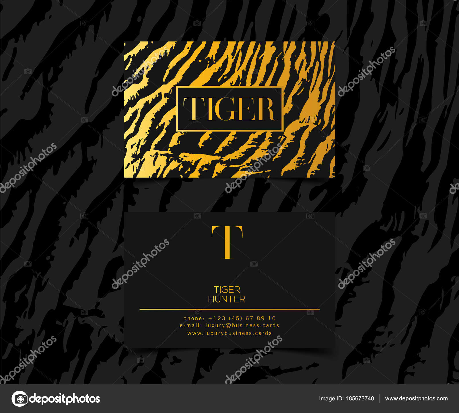 Luxury Fashion Business Cards Vector Template Banner And Cover With Golden Tiger Texture Pattern Gold