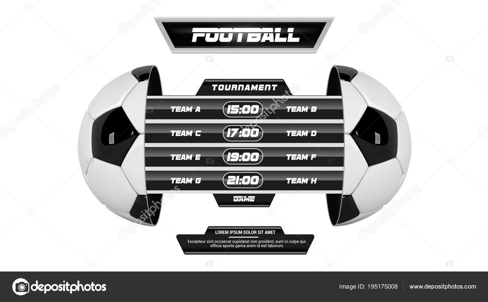 Vector de la Liga de fútbol con equipos y marcador aislado
