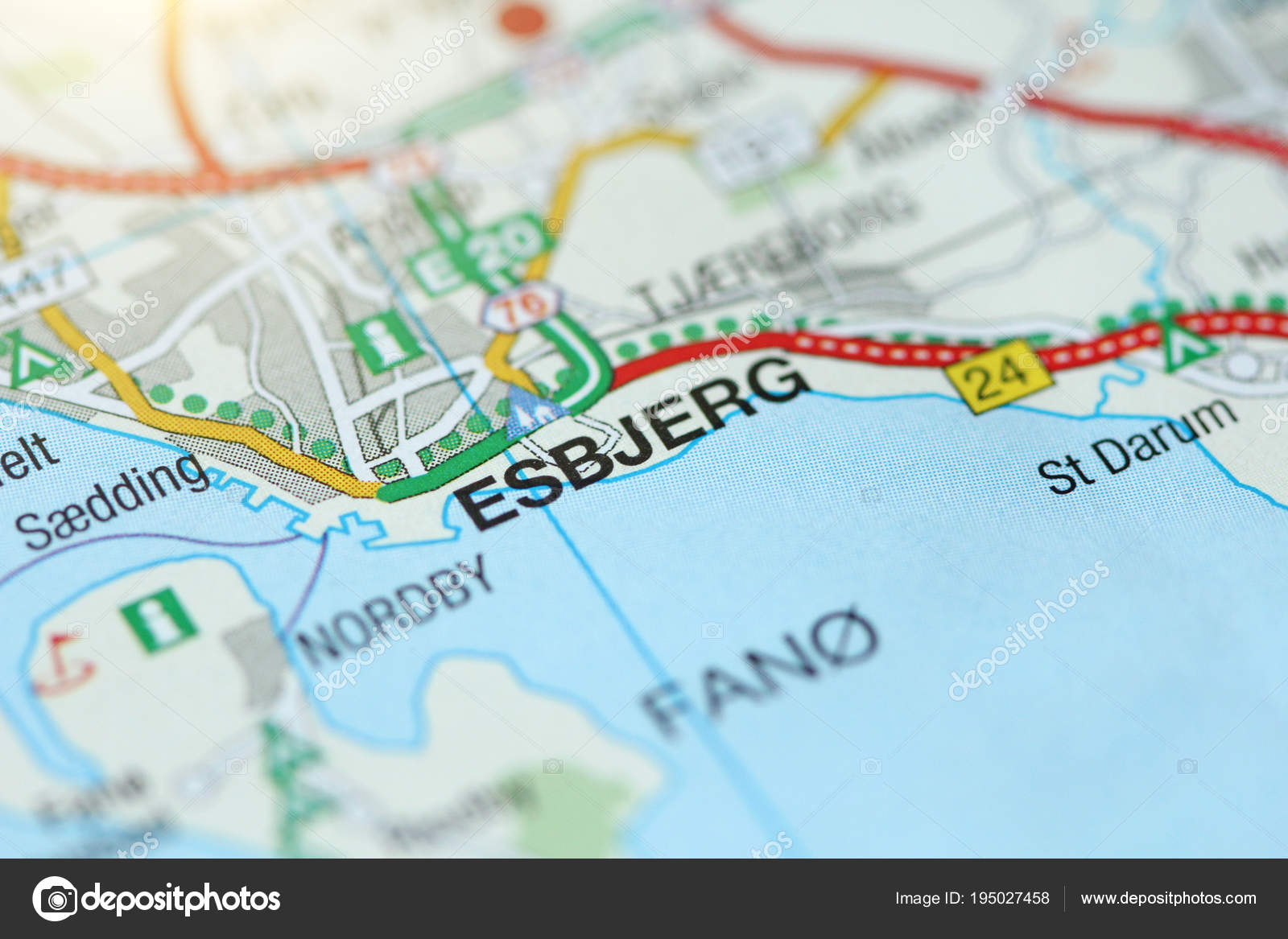 Esbjerg. Kongeriget Danmark. A paper map and roads on the map ...