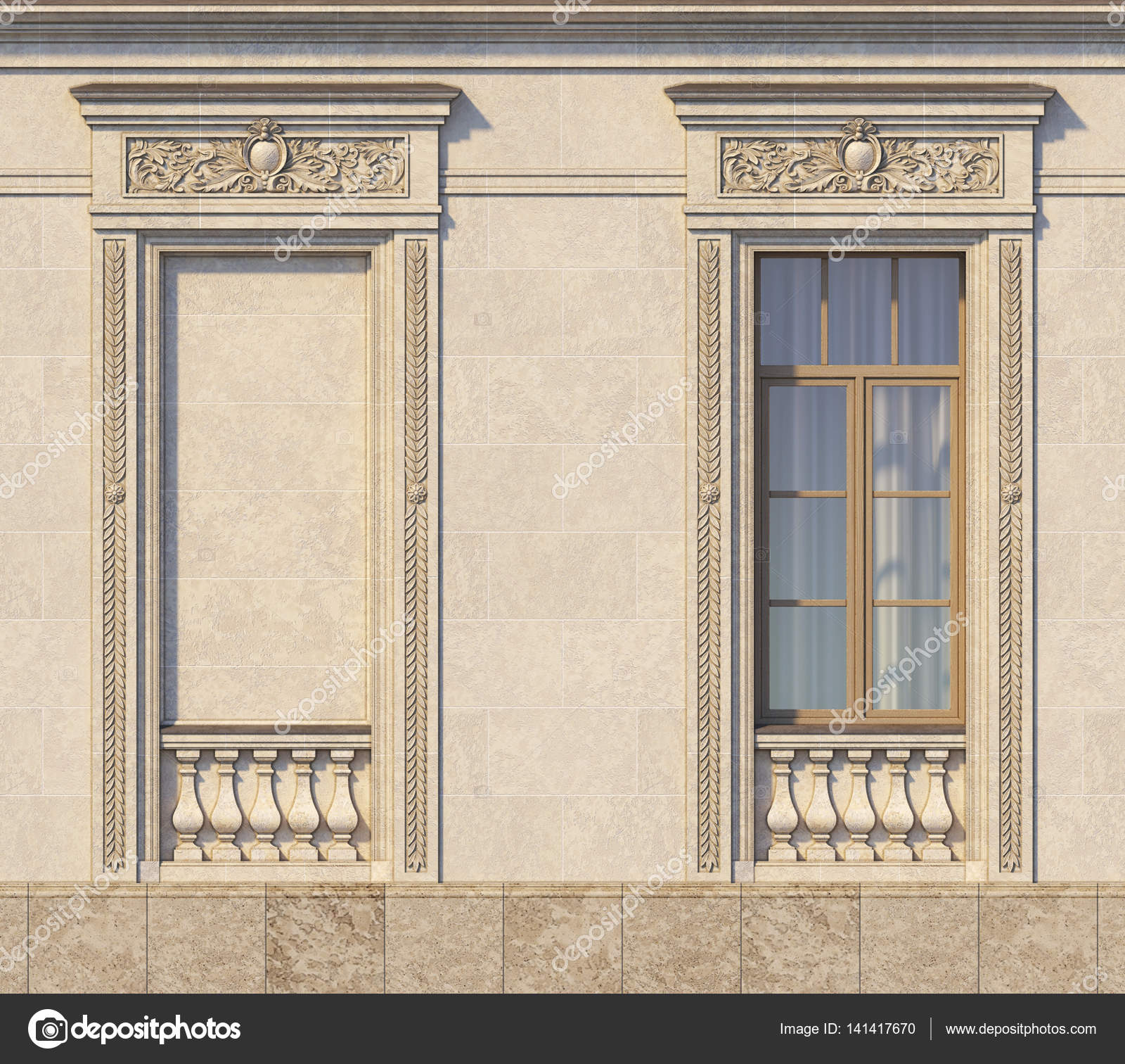 Framing of windows in classic style on the stone. 3d rendering ...