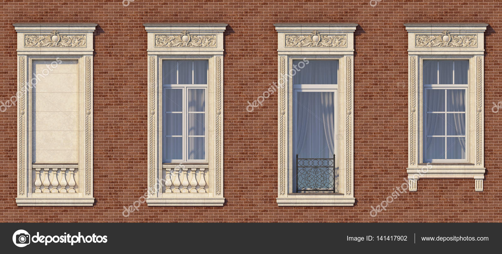 Gestaltung Von Windows Im Klassischen Stil Auf Der Mauer Der Roten Farbe  Mit Französischem Balkon. 3D Rendering U2014 Foto Von Lookash
