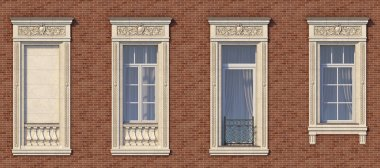 Framing of windows in classic style on the brick wall of red color. 3d rendering.