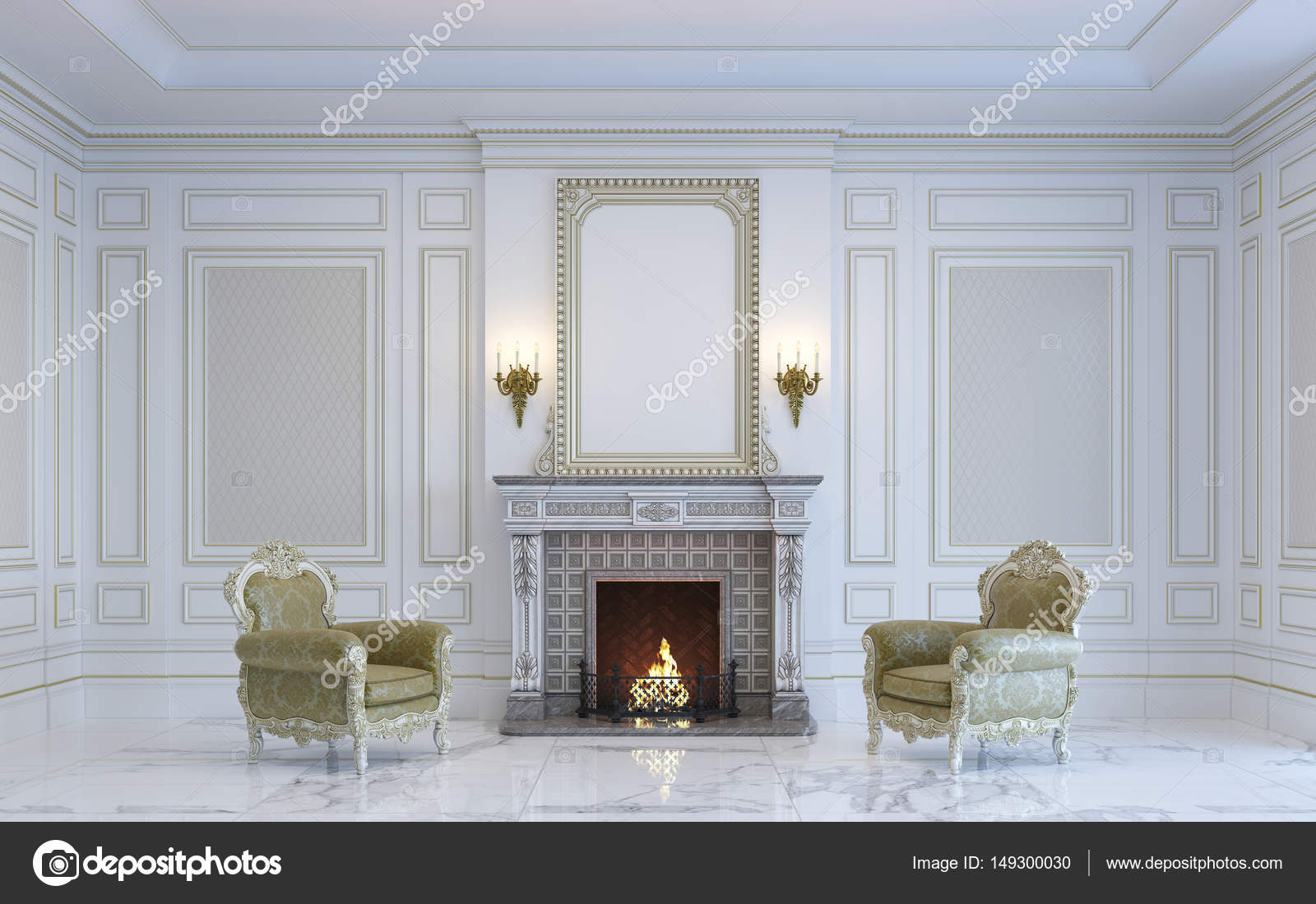 Interni classici sono in tonalit chiare con camino rendering 3d foto stock lookash 149300030 - Interni classici ...