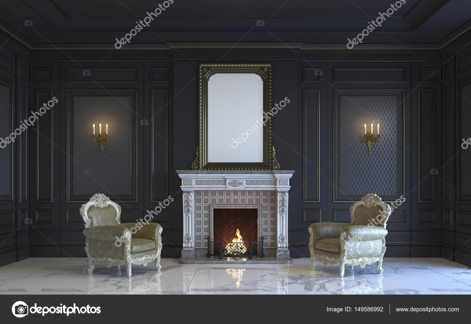 Een Klassiek Interieur : Een klassieke interieur is in donkere tinten met open haard d