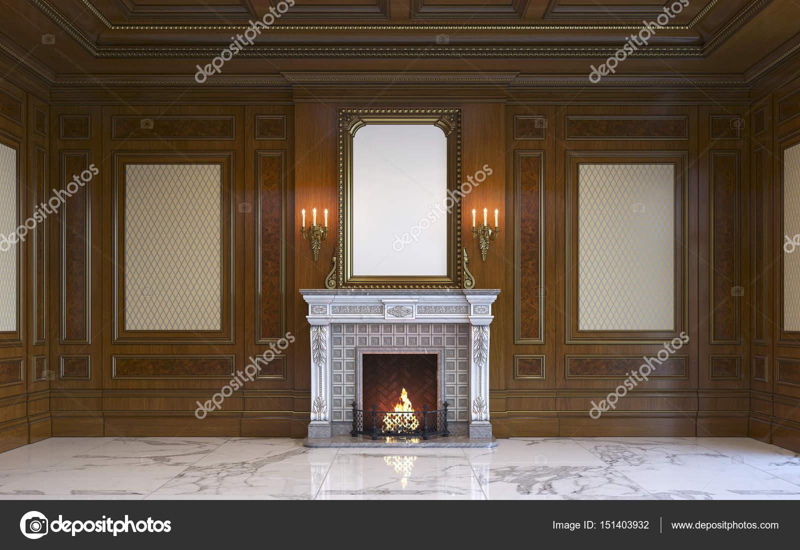 Een Klassiek Interieur : Een klassiek interieur met houten lambrisering en open haard. 3d