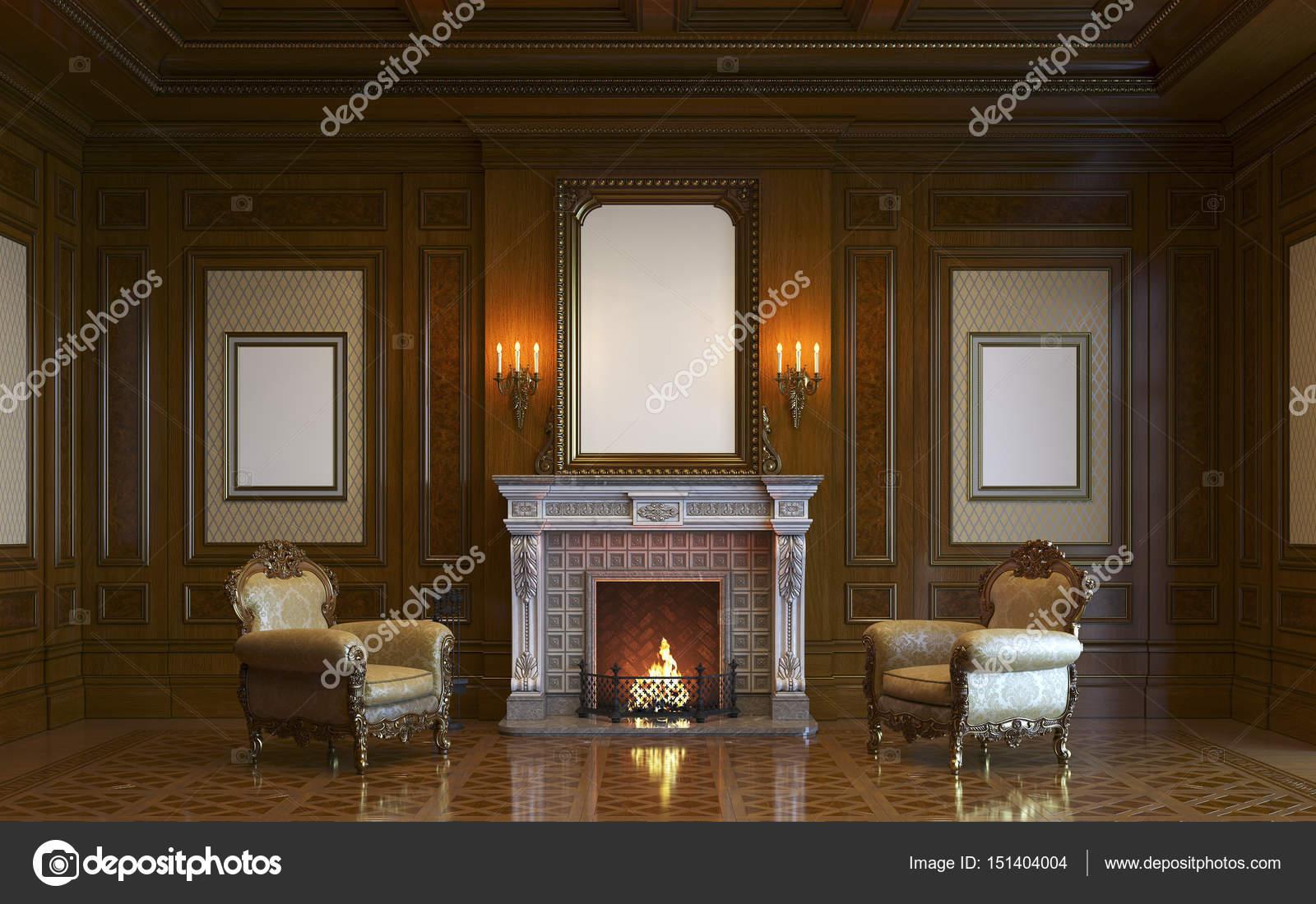 Een Klassiek Interieur : Een klassiek interieur met houten lambrisering en open haard d