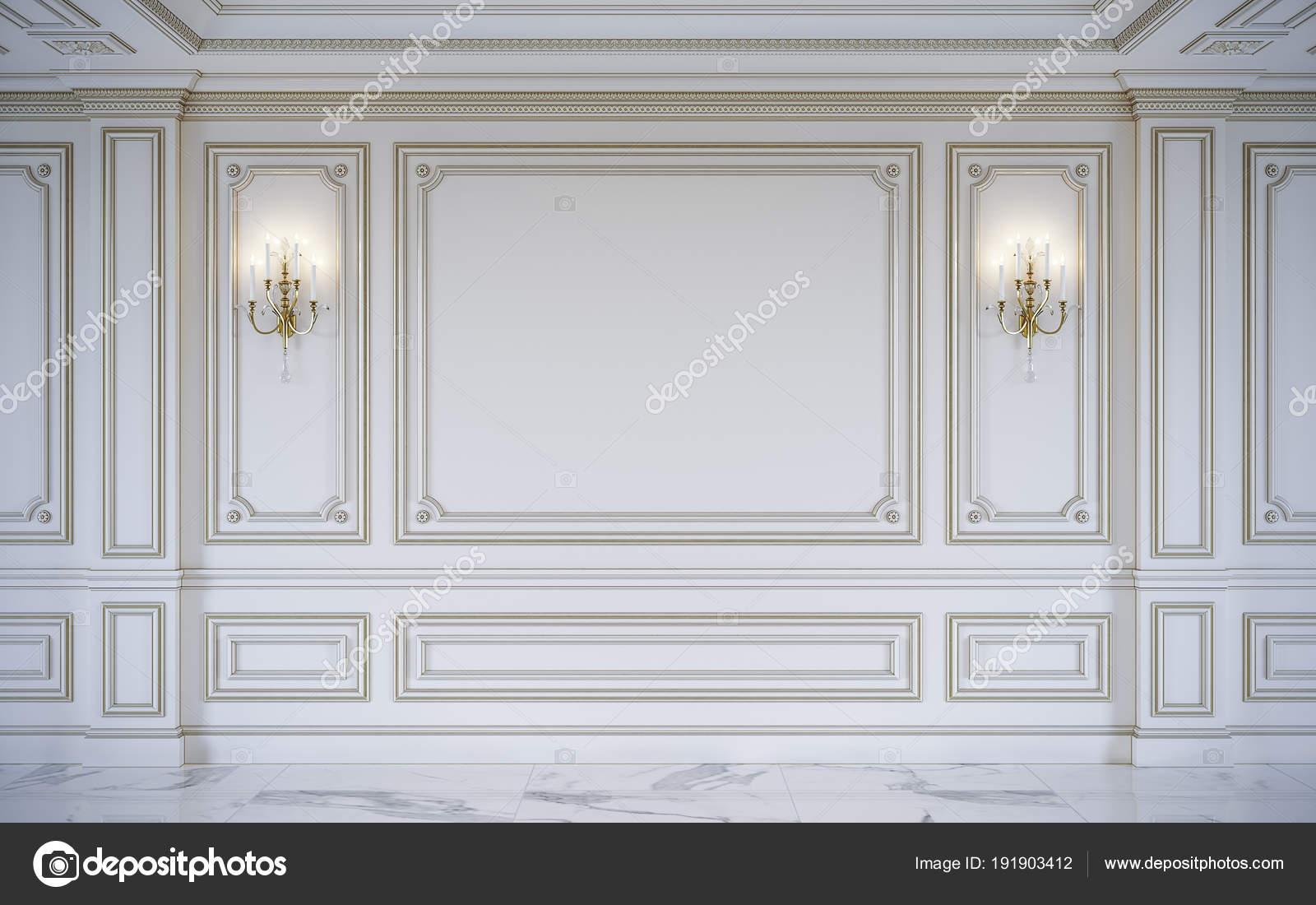 Weiße Wand-Paneele im klassischen Stil mit Vergoldung. 3D-Rendering ...
