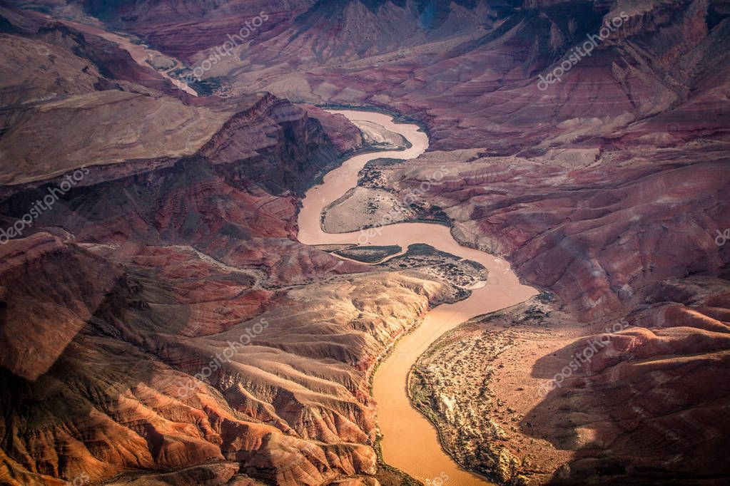 View over the colorado river in grand canyon from the helicopter