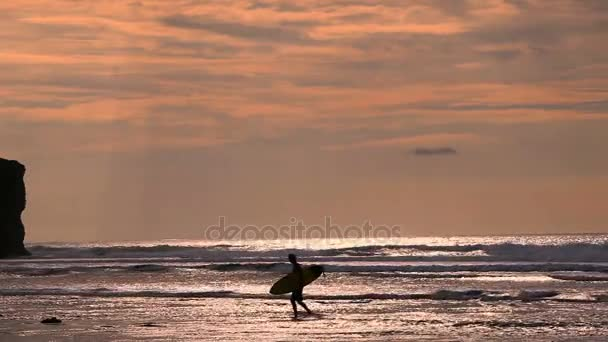 Surfer in silhouette walking with long surf boards at sunset on tropical beach