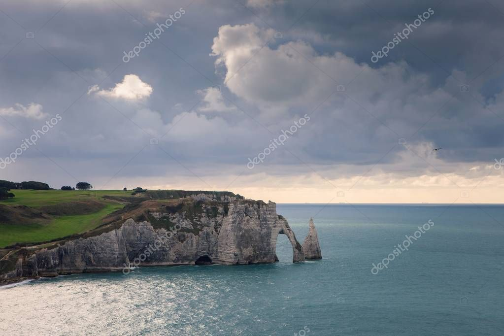 The beach and cliffs of Etretat, the Normandy tourist site of the French city