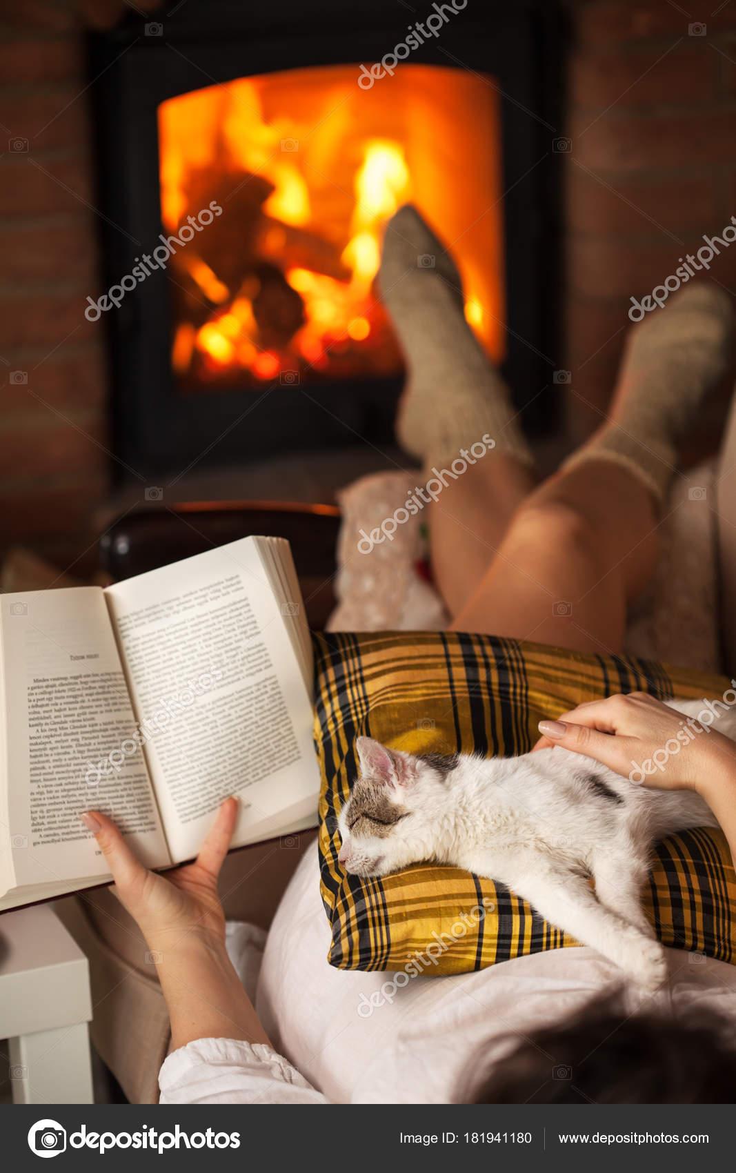 Frau Am Kamin Lesen Mit Ihrem Kätzchen Liegend Auf Dem Sofa, Geringer Tiefe  Entspannung U2014