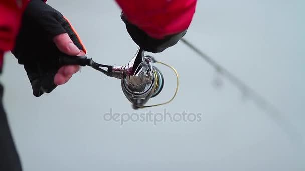 Közelkép a halász spinning rúd