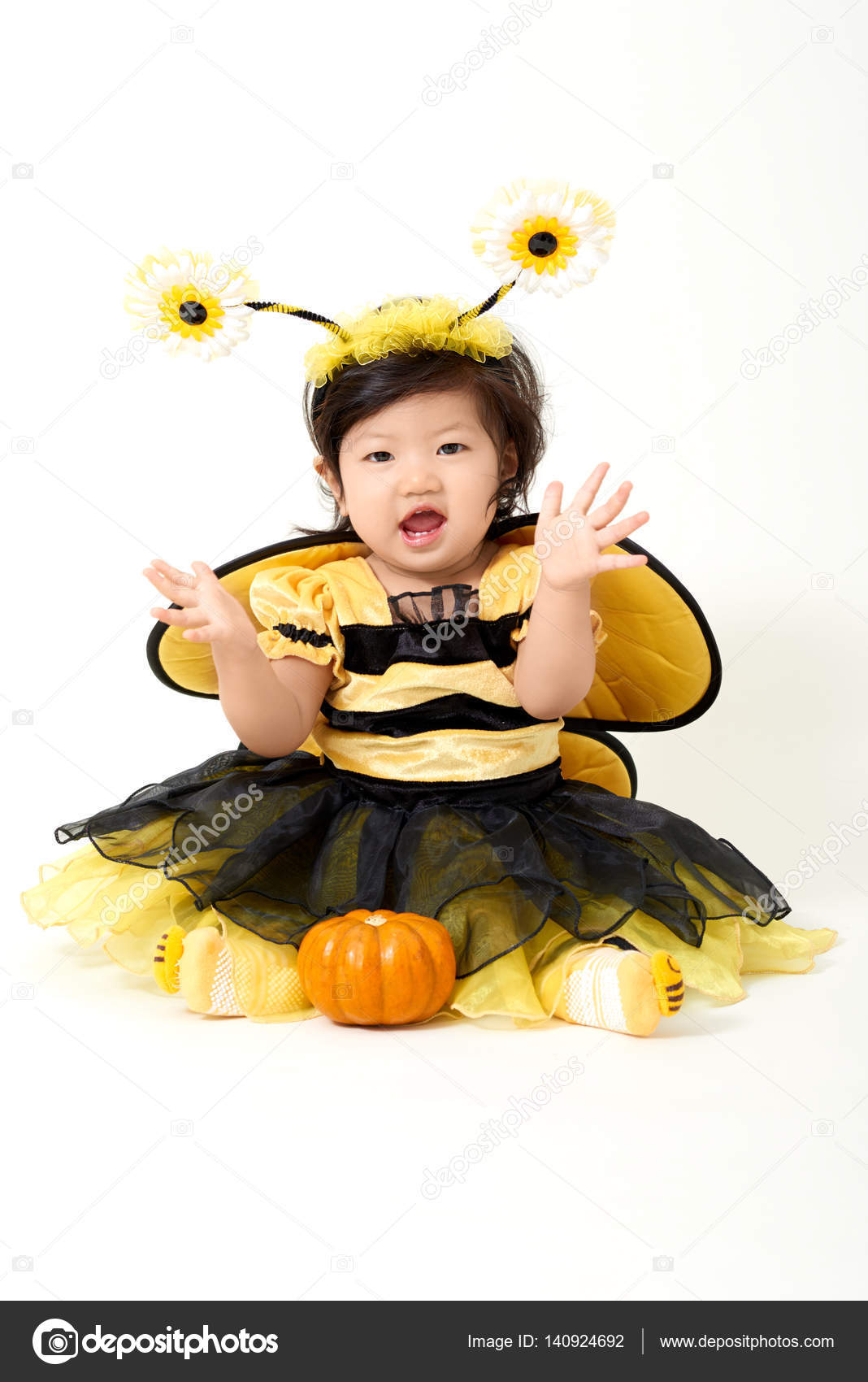 baby wearing bee costume is ready for halloween photo by hollanddoggmailcom