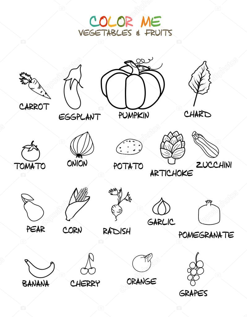 vegetables and fruits coloring page premium vector in adobe illustrator ai ai format encapsulated postscript eps eps format wdrfree