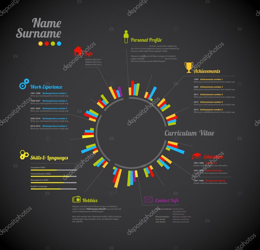 Creativo, color rico Cv / reanudar la plantilla con el círculo en el ...