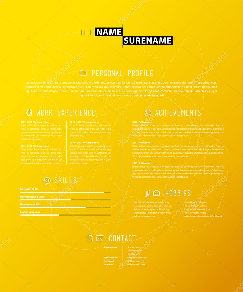 önéletrajz háttér Kreatív egyszerű önéletrajz sablon, sárga háttér — Stock Vektor  önéletrajz háttér