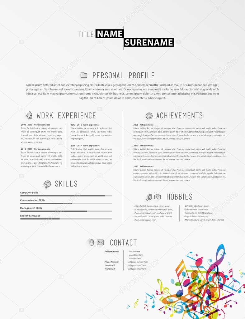 Creative Simple Cv Template With Colorful Music Tunes In Footer