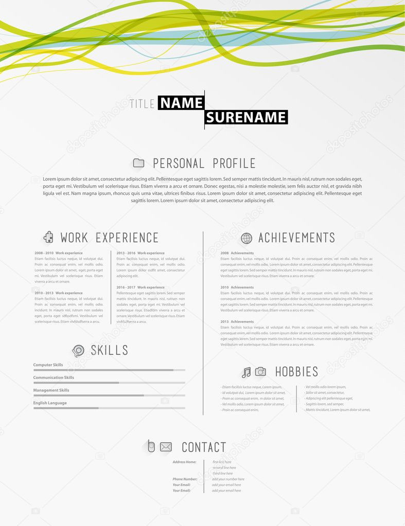 creative simple cv template with colorful lines in header stock vector