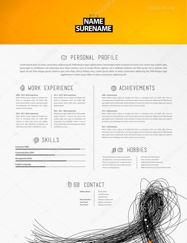 Kreative einfache Lebenslauf-Vorlage mit schwarzen Linien in ...