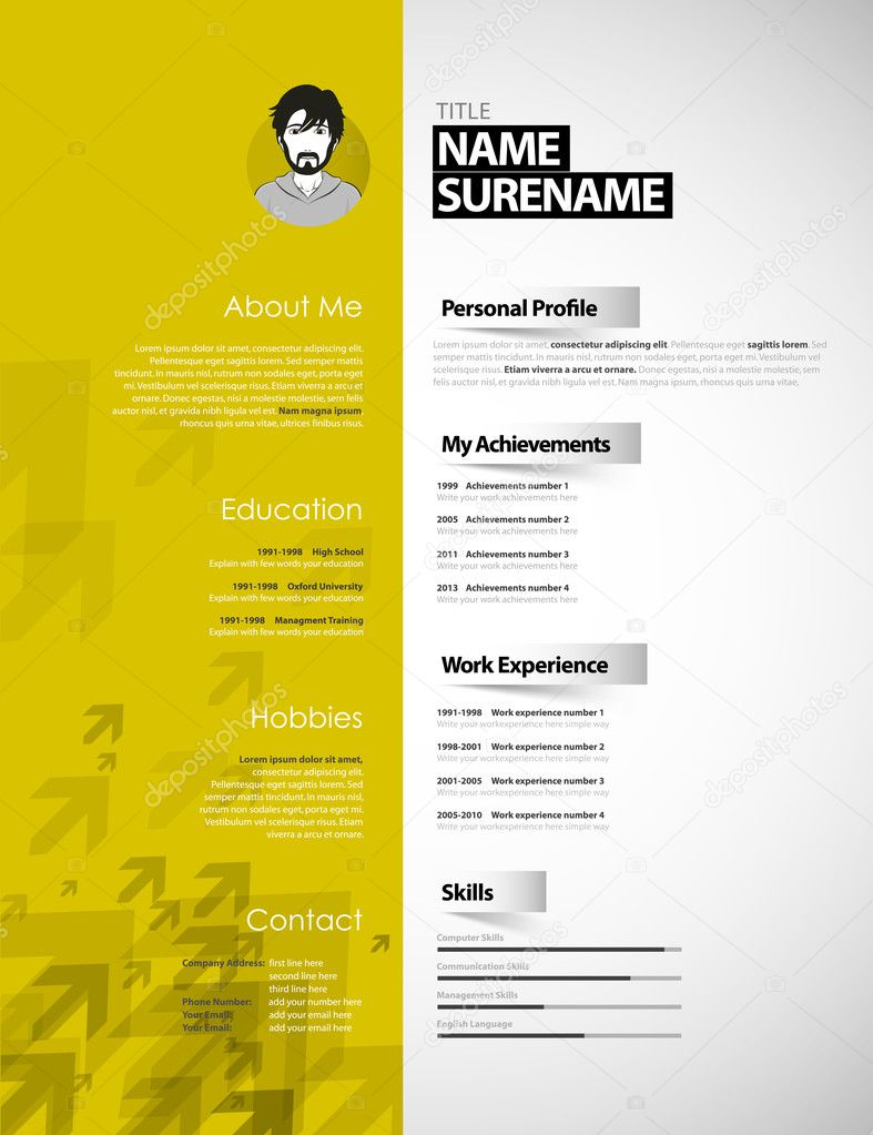 Creative Curriculum Vitae Template With Yellow Stripe And Arrows