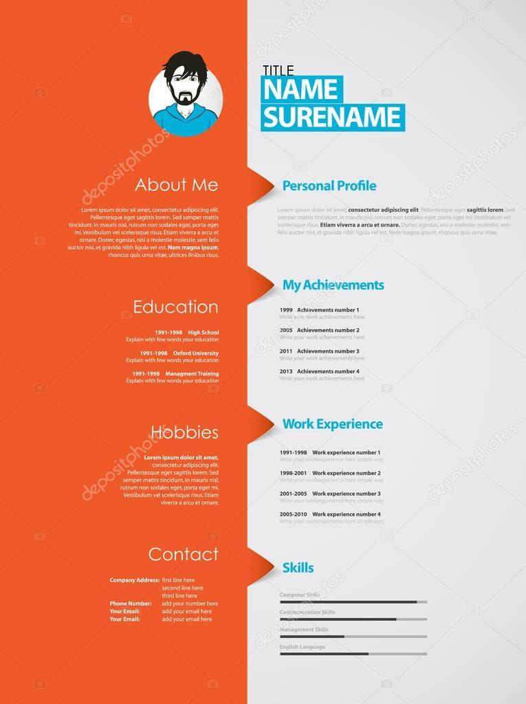 creative curriculum vitae template with orange stripe stock vector