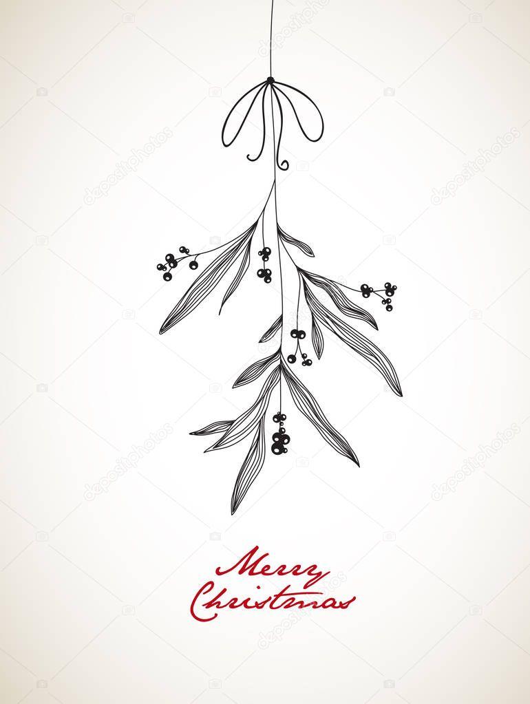 ヤドリギをぶら下げと手書きのクリスマス イラスト ストックベクター