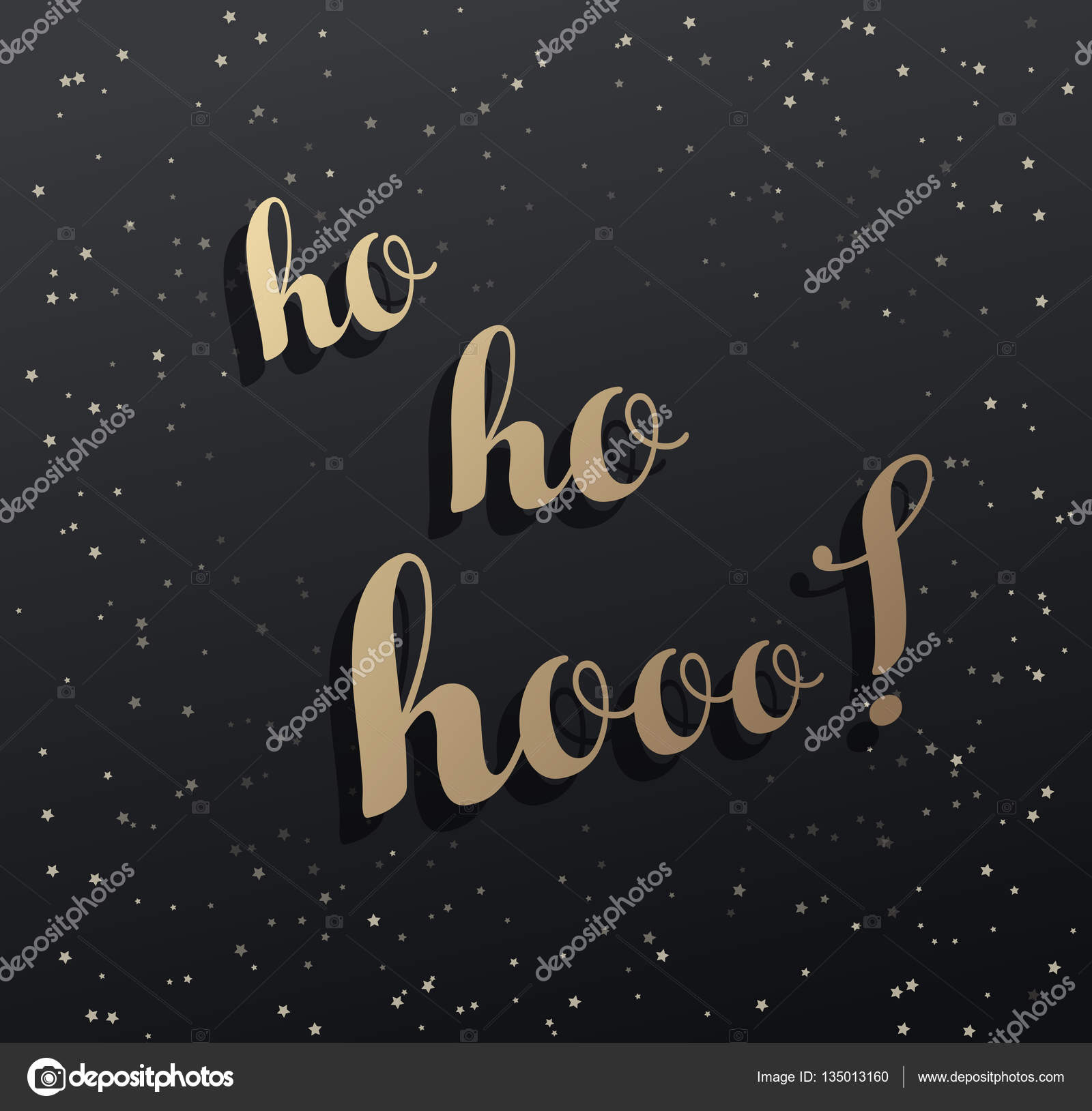 Merry Christmas greeting card with Ho ho hooo! and golden stars ...