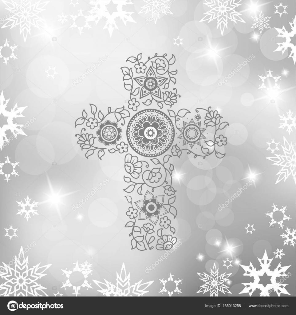 Weihnachten Silber Hintergrund mit dem grauen Blumen Christentum ...