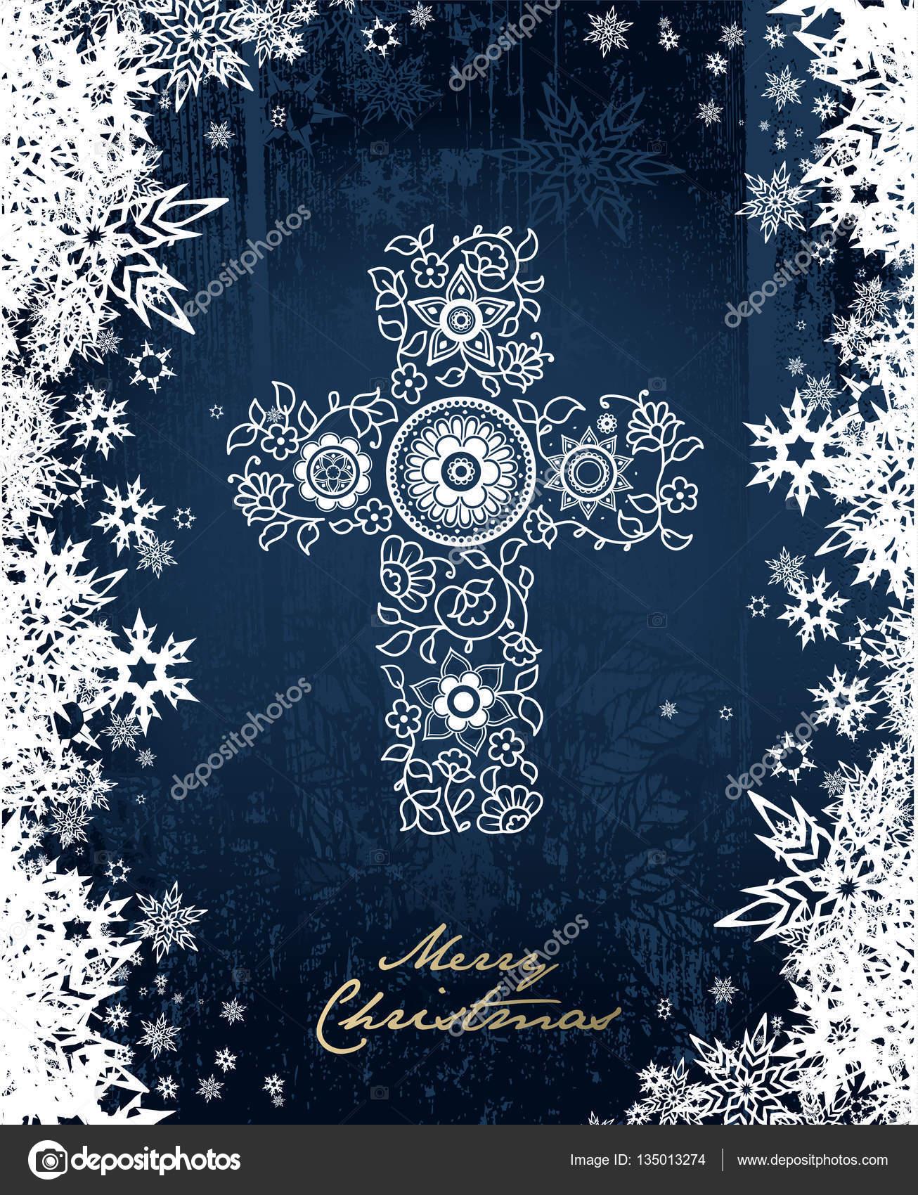 Weihnachten Im Christentum.Frohe Weihnachten Hintergrund Mit Weißen Blumen Christentum Kreuz