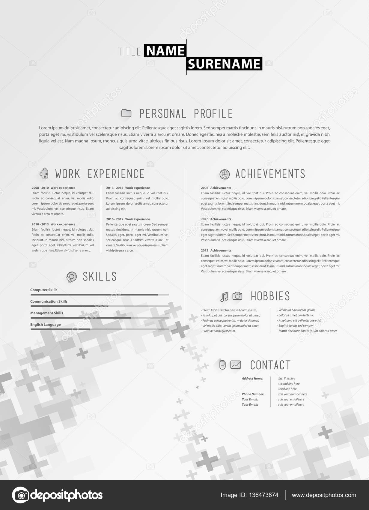 Kreative Einfache Lebenslauf Vorlage Mit Grau Plus Zeichen In