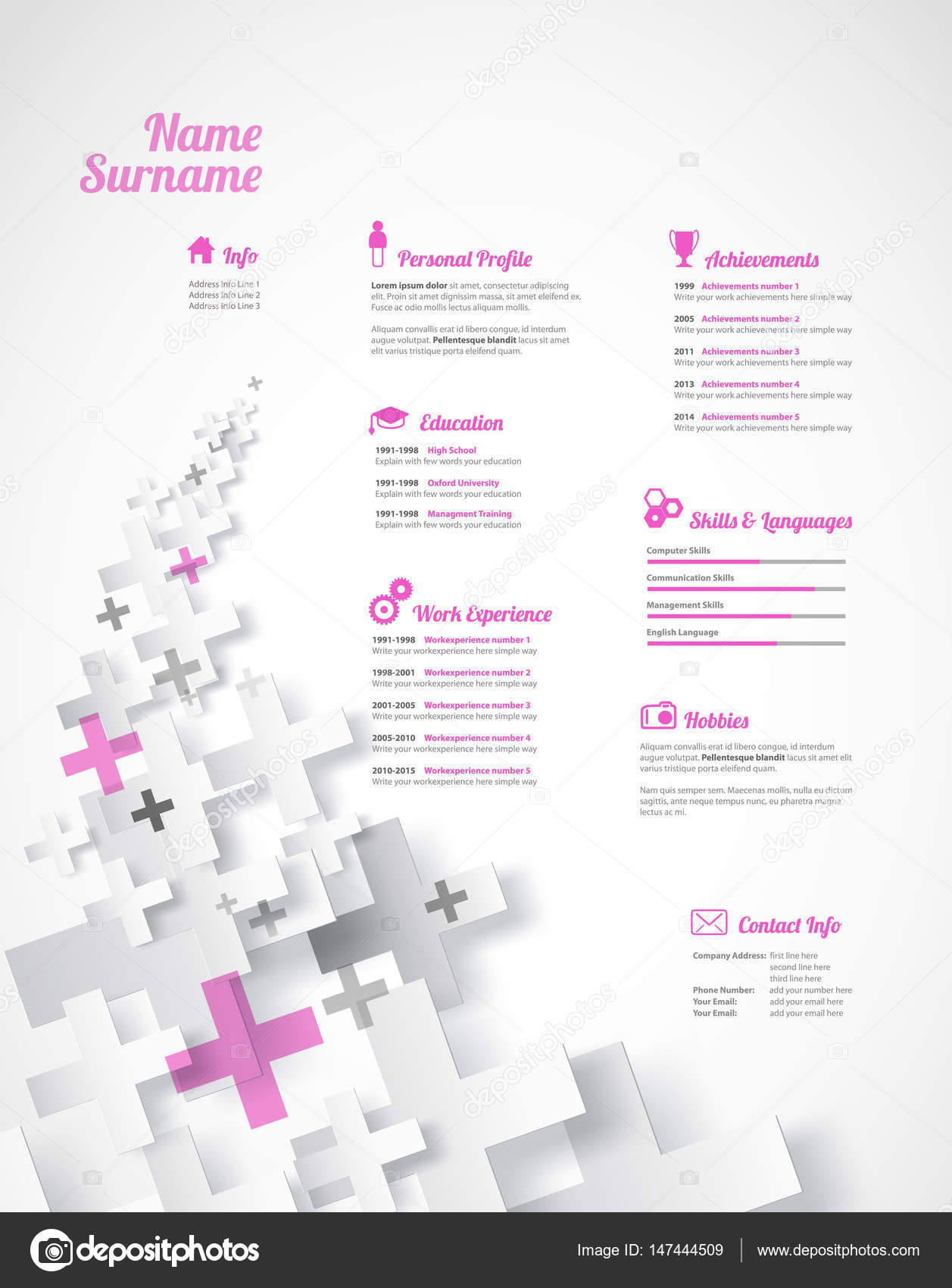 Creativo, rosa color Cv / reanudar plantilla — Vector de stock ...