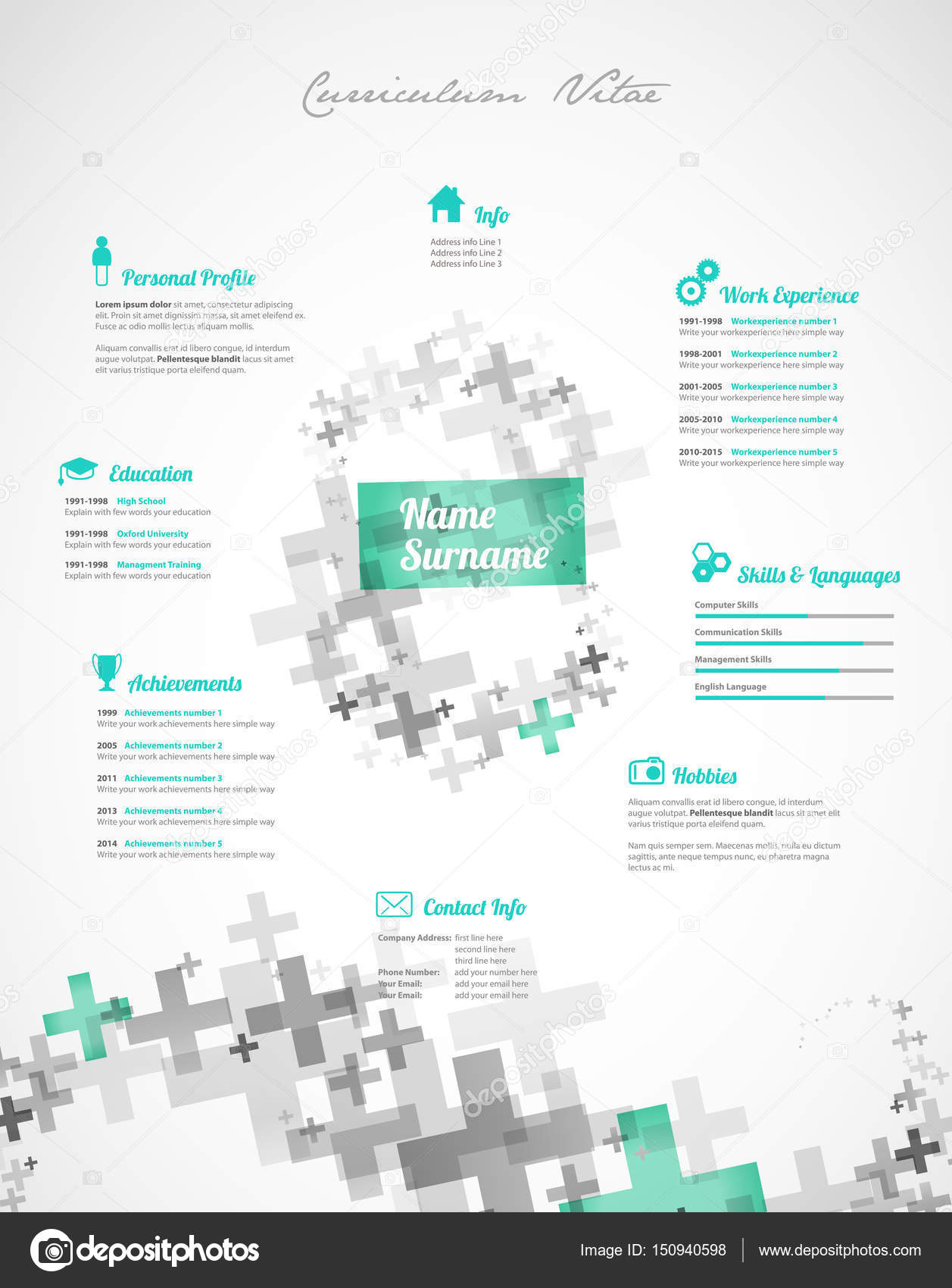 Creativo, verde color Cv / reanudar plantilla — Vector de stock ...