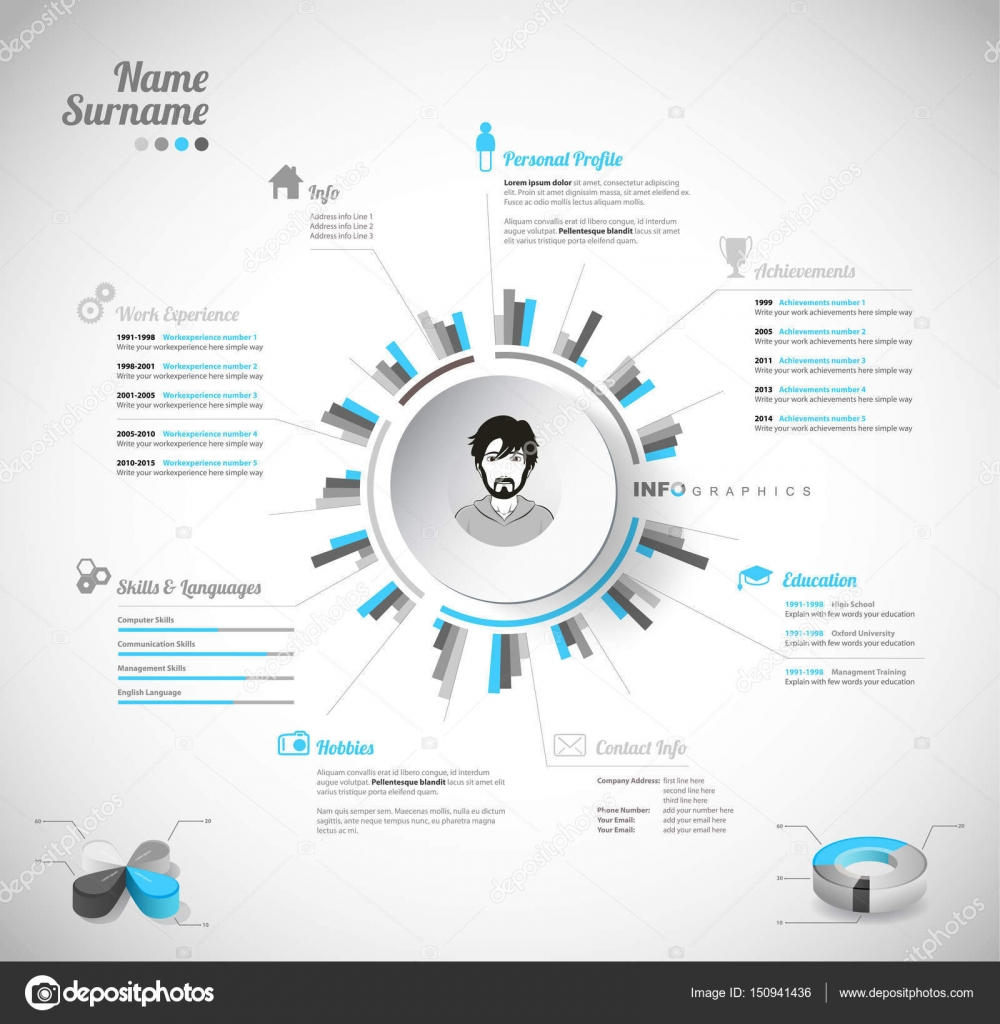 creative color rich cv resume template with circle in the cen