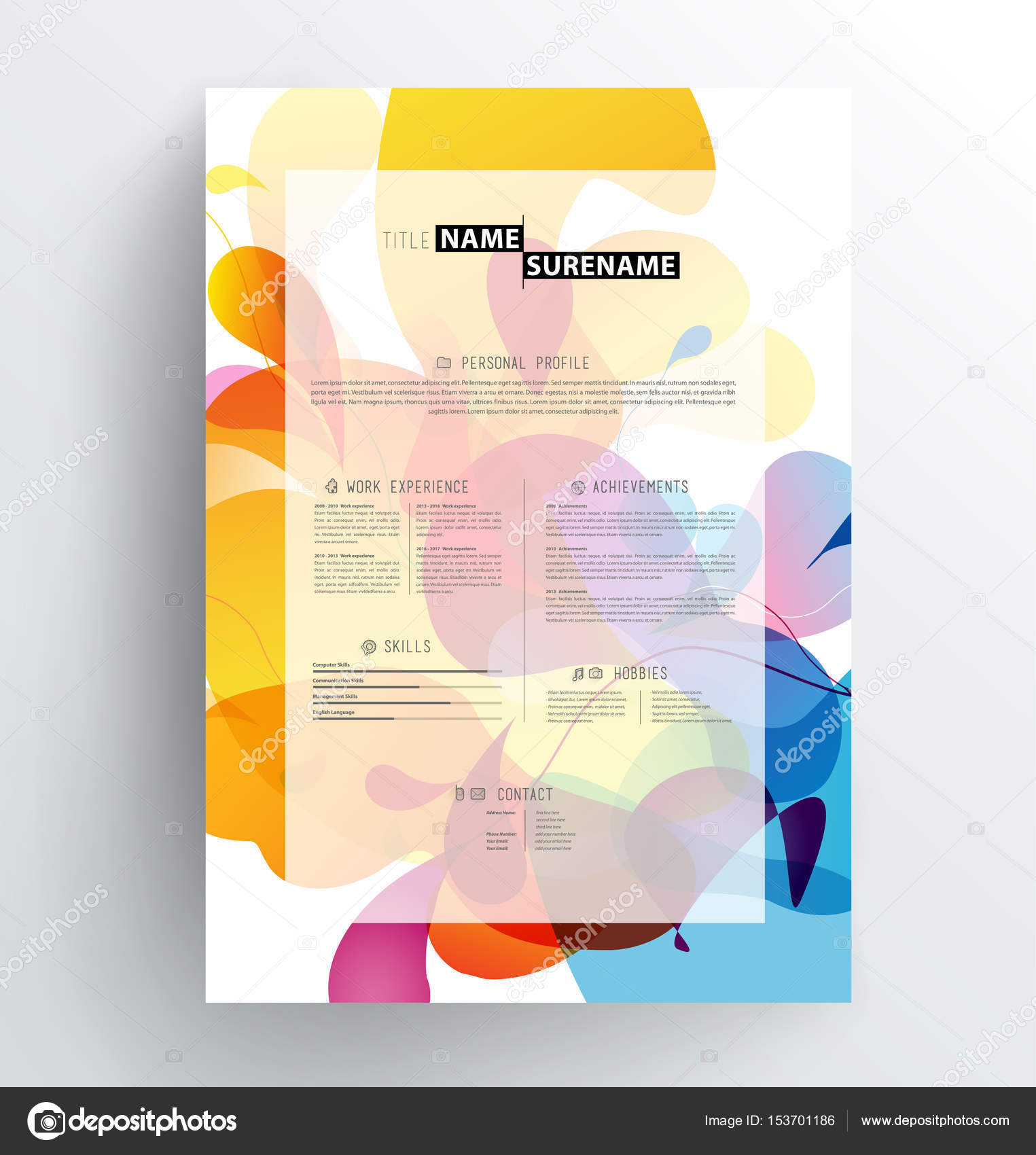 Creative Abstract Colorful CV Resume Template Stock Illustration