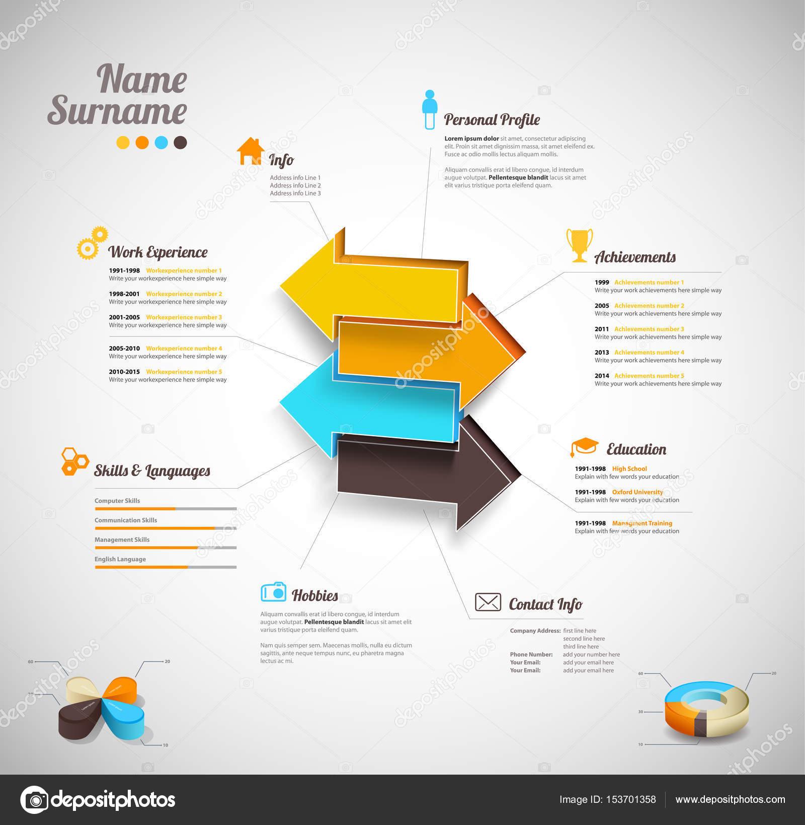 Kreativ, Farbe reichen Cv / resume Vorlage mit Pfeilen in der cen ...