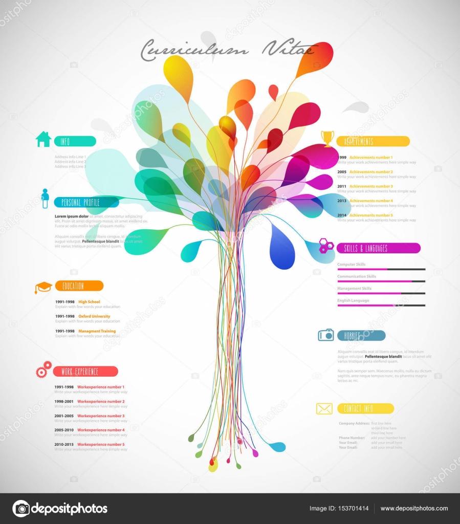 cr u00e9ative  couleur riche cv    resume template avec arbre abstrait dans  u2014 image vectorielle kormi
