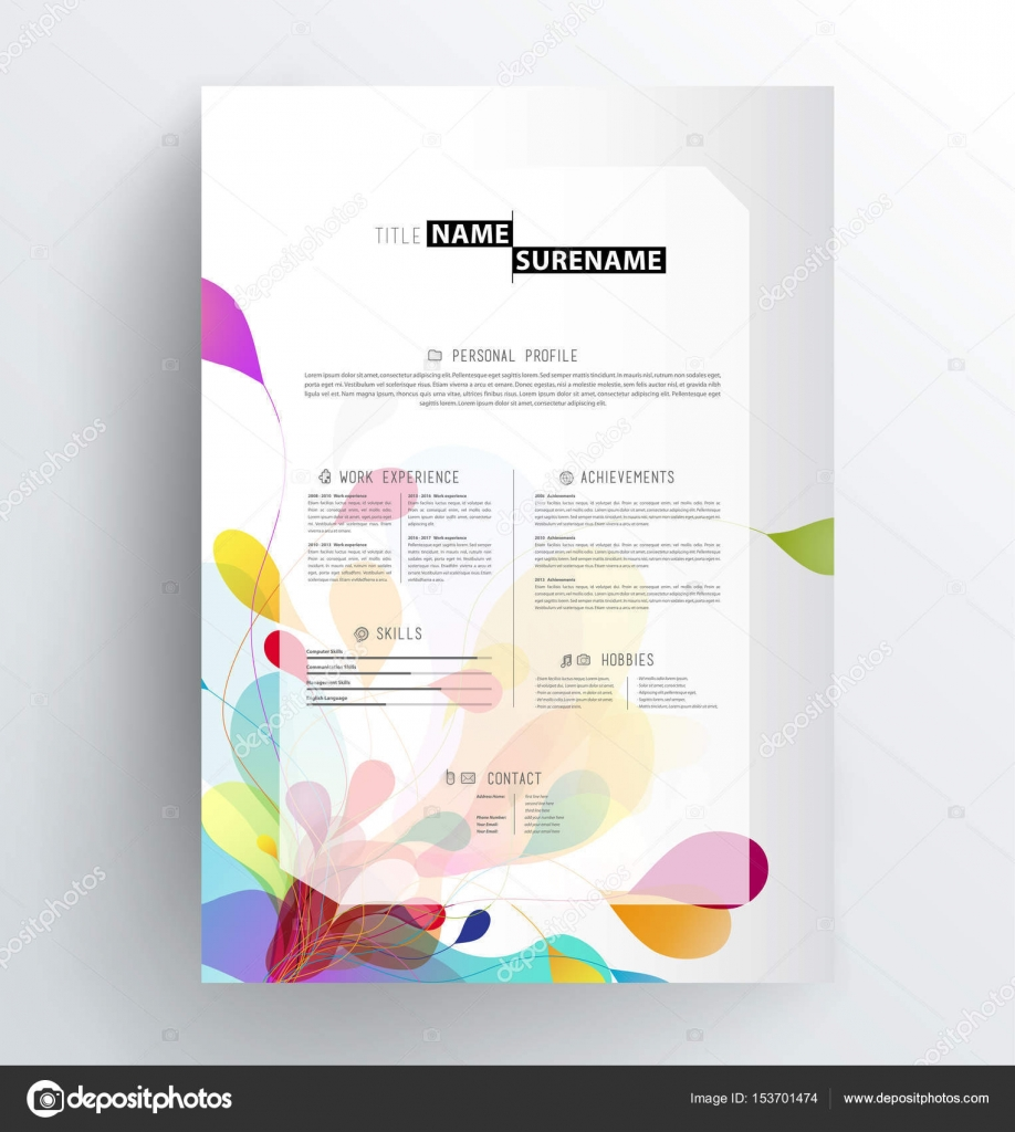 Creative Abstract Colorful Cv  Resume Template  Stock Vector