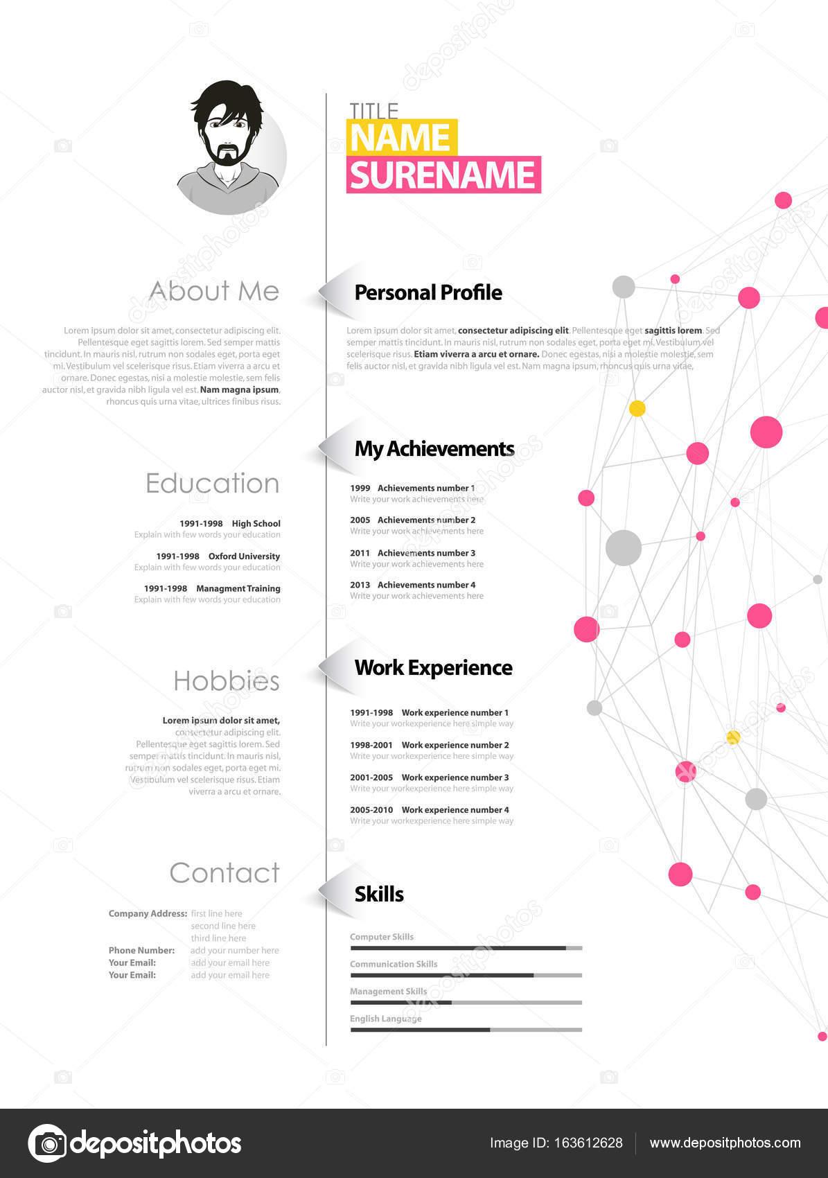önéletrajz pontok Kreatív egyszerű önéletrajz sablon, sárga és rózsaszín körök és  önéletrajz pontok