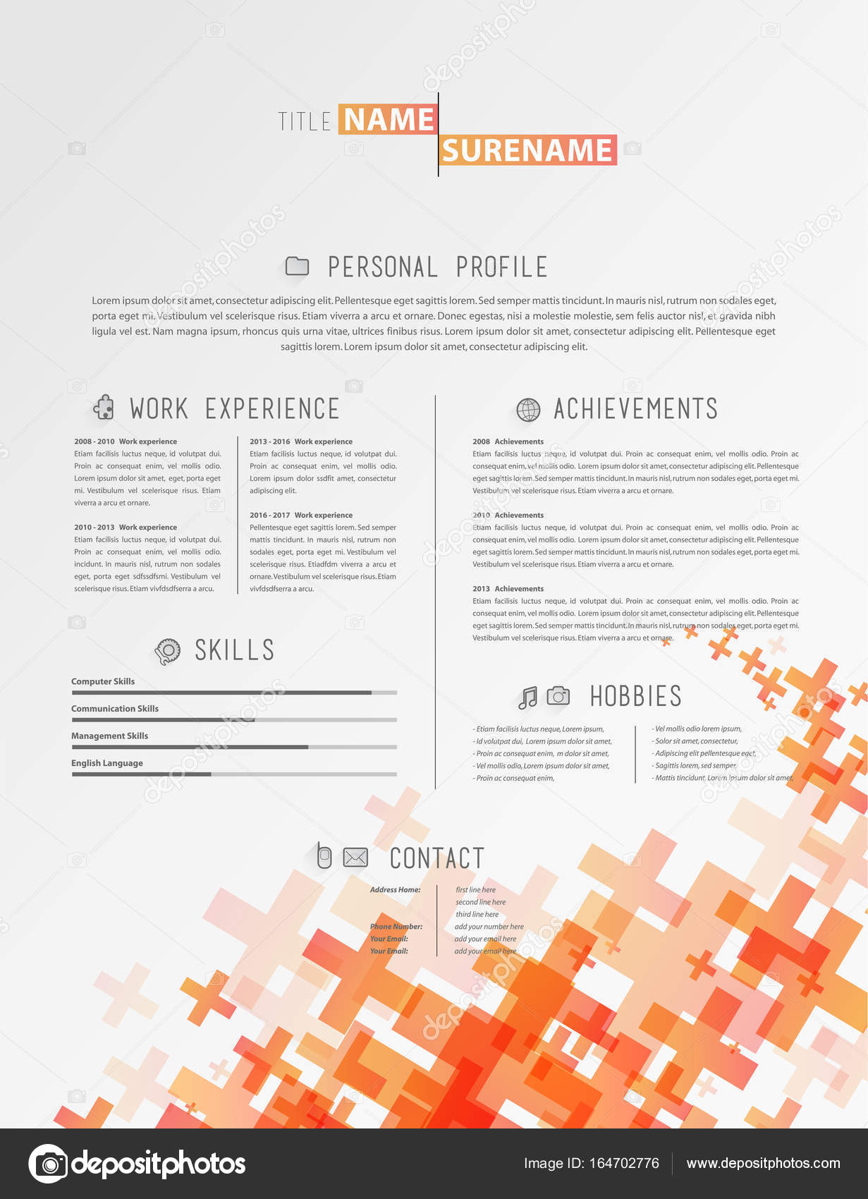 Creative Simple Cv Template With Grey Plus Signs In Footer  Stock