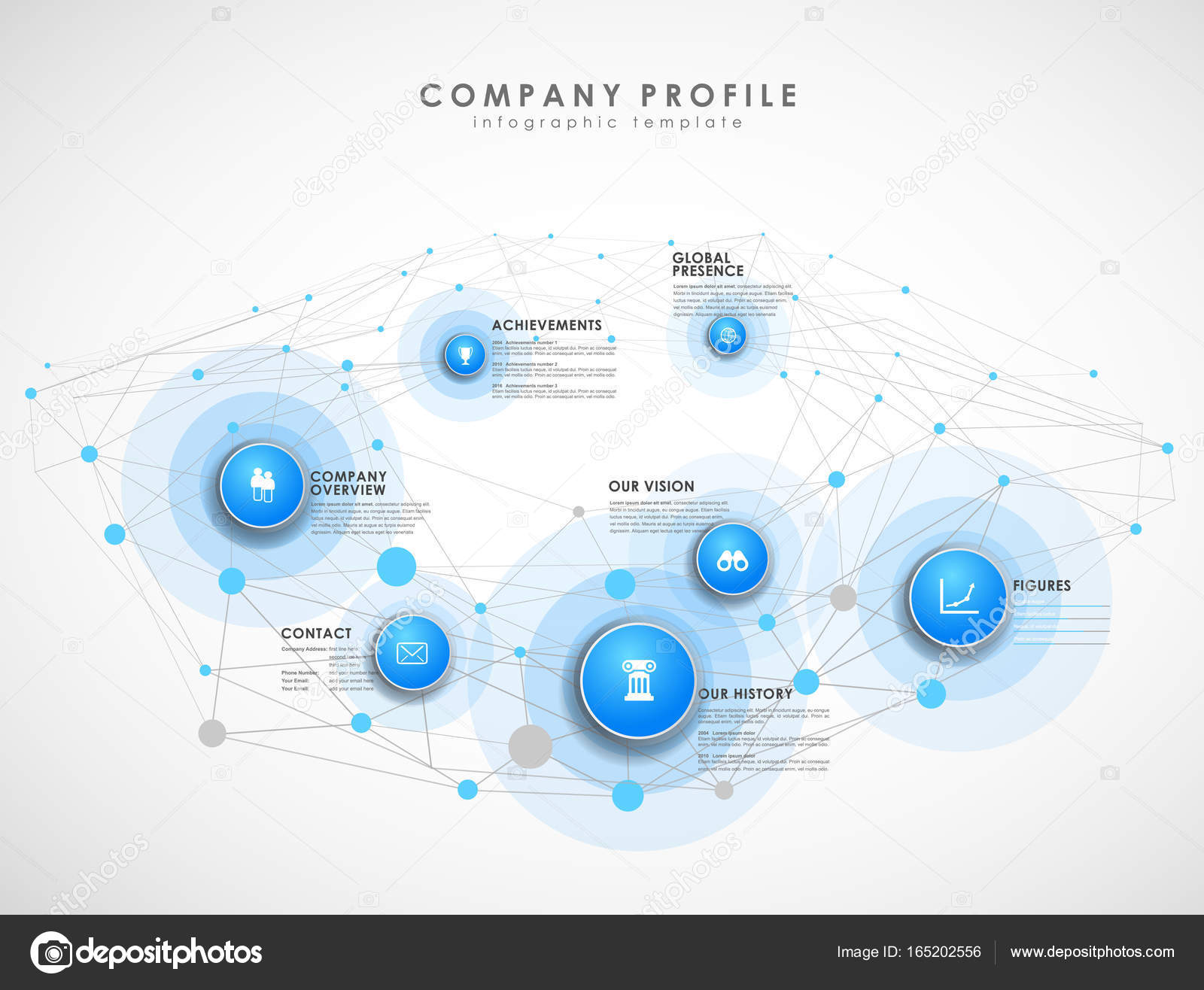 Company profile overview template with blue circles and dots - l ...