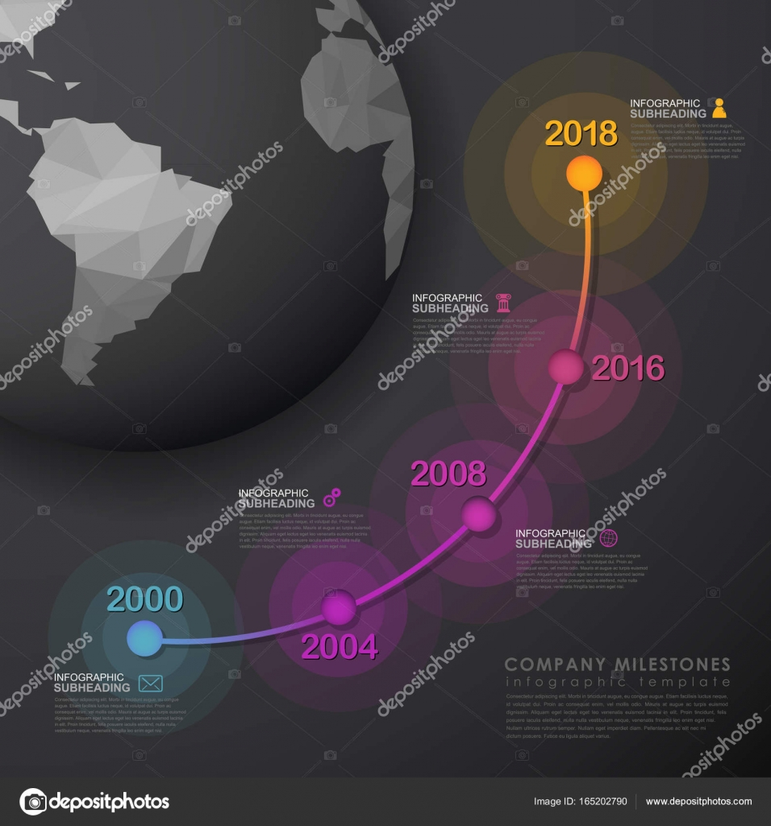 Infographic startup milestones timeline vector template with pol infographic startup milestones timeline vector template with pol stock vector maxwellsz