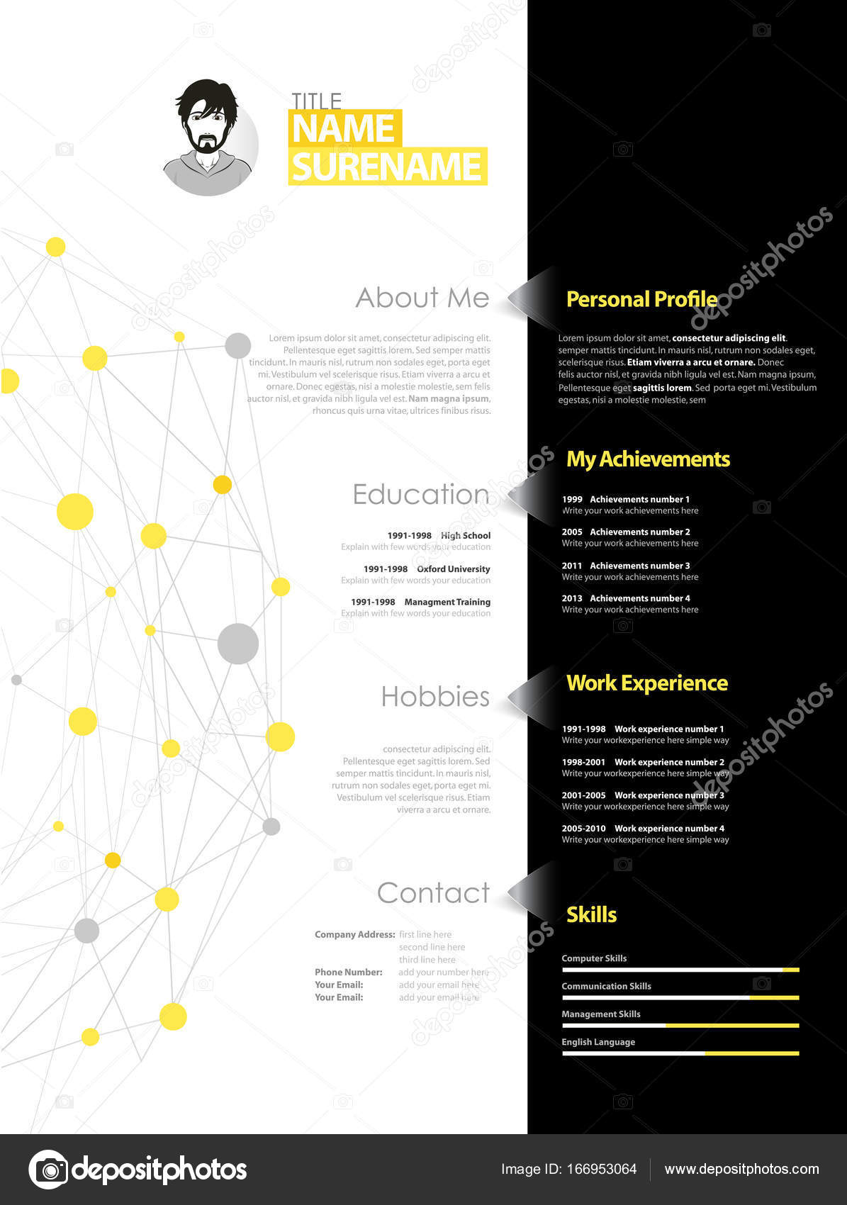 Creative Simple Cv Template With Yellow And Grey Circles And Dot