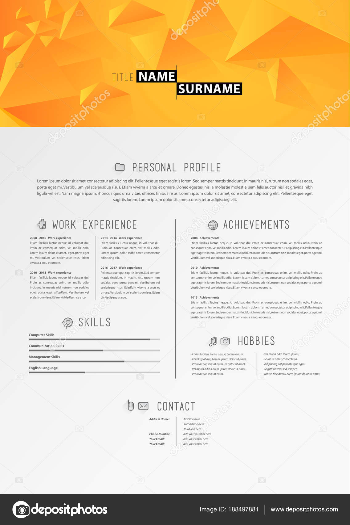 creative simple cv template with orange triangles in header stock