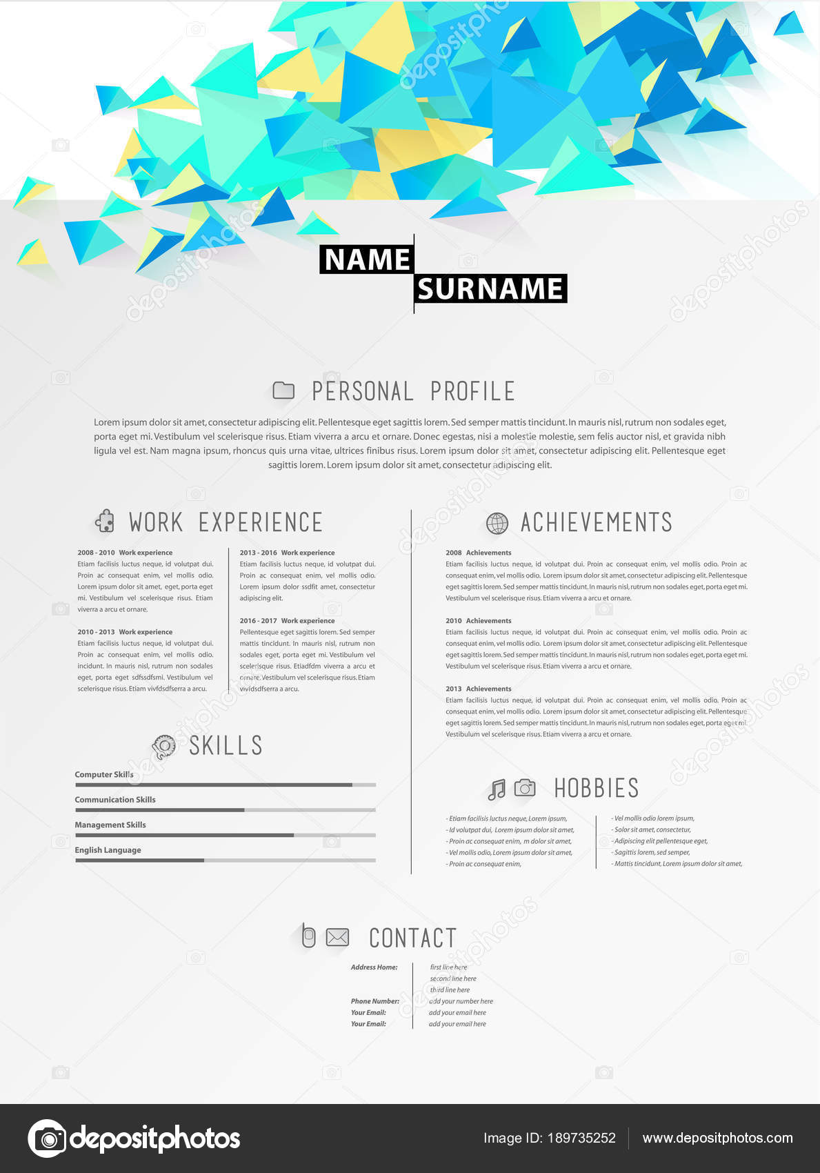 creative simple cv template with polygonal triangle shapes stock