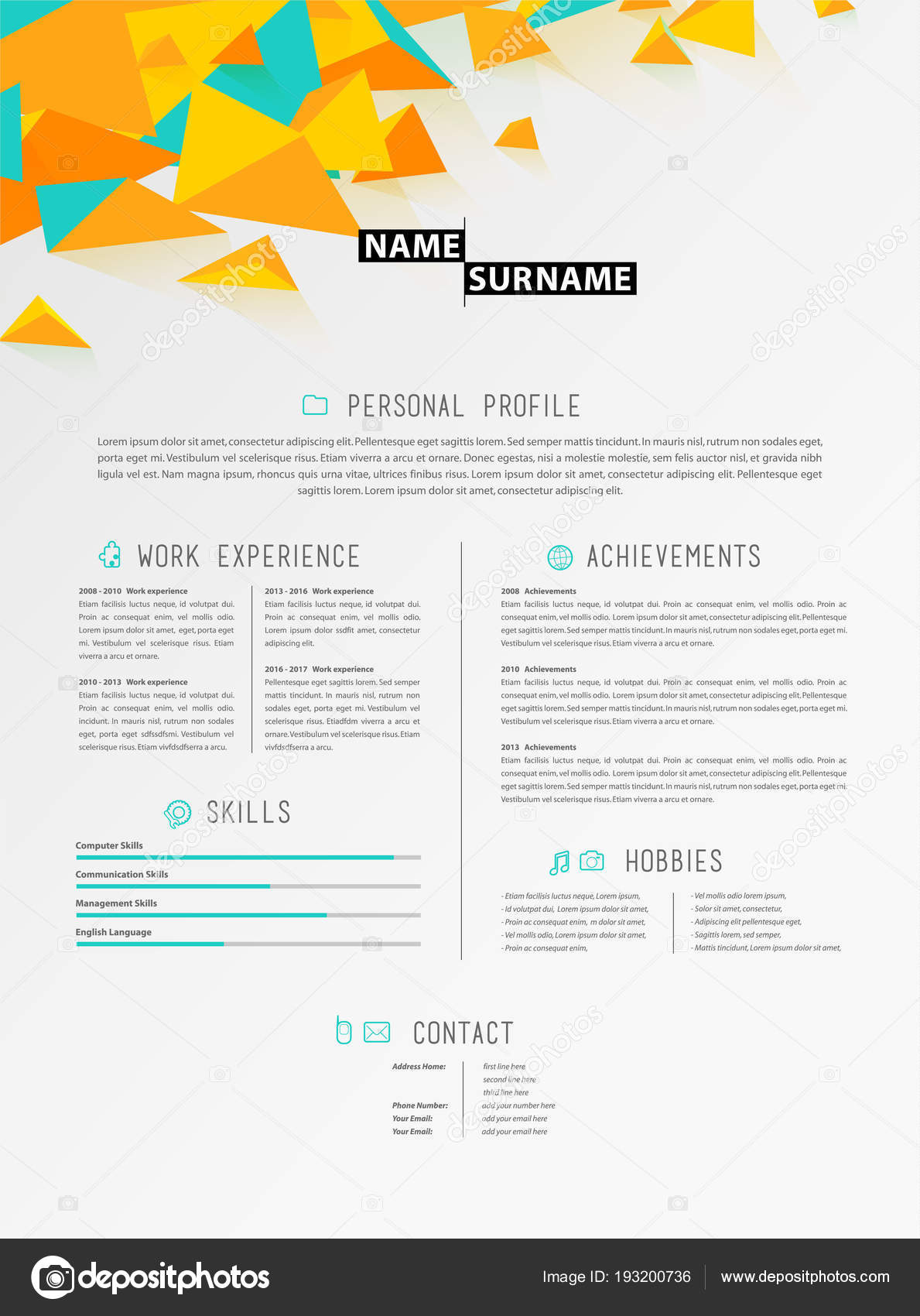 creative simple cv template with colorful circles shapes stock