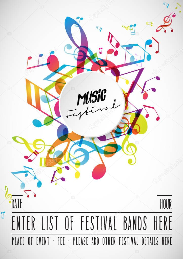 abstract music festival advertising poster template with
